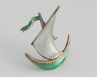 Sterling Silver Enamel Sailboat Brooch Pin Signed Norway // Vintage Estate Jewelry // fruitsdesbois
