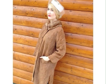 Vintage brown lined suede leather fur winter peacoat coat jacket size small