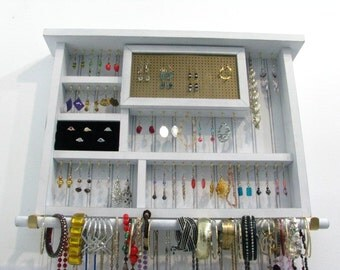 Distressed white jewelry display