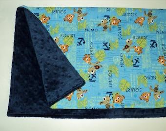 "NemoNemo Baby Blanket, Security Blanket Lovey 19"" X 23"", Baby Boy Baby Girl Minky Blanket, Nursery, Newborn Blanket, Baby Shower Gift"