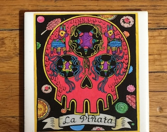 La Pinata (The Pinata) Ceramic Tile Coaster -  Loteria and Day of the Dead skull Dia de los Muertos calavera designs