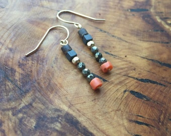 Antique coral, pyrite, hematite, coconut, 14kt goldfilled earrings