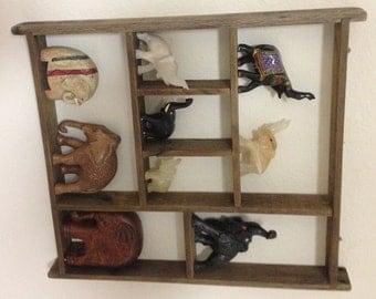 Primitive shelf, reclaimed shelf made with oak wood, shadow box with shelf
