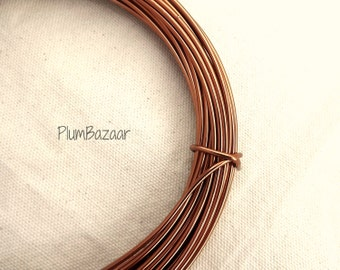 Aluminum wire for jewelry and crafts, 2mm 12 gauge round, antique copper color, 39 foot coil