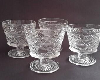 Hazel Atlas Gothic Footed Glass Sherbets Vintage