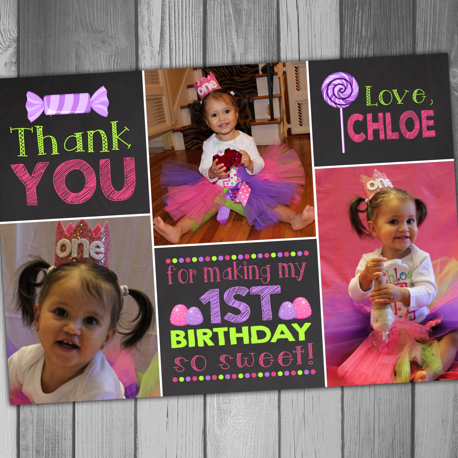 First Birthday Thank You Card Girl Birthday Photo Card