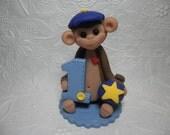 Personalized Baby Boy's First Birthday Monkey Cake Topper, Gift, Keepsake, Jungle Animal, Zoo Animal