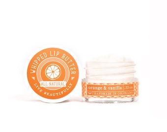 SUMMER SALE - Orange & Vanilla - Whipped Lip Butter - Natural Icing for Your Lips
