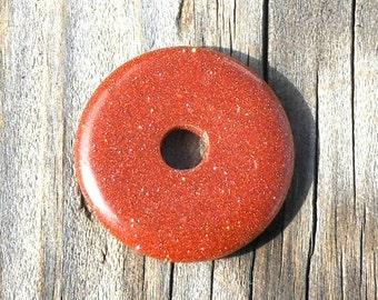 30mm Goldstone Stone, Donut Pendant, Centerpiece Supply, Copper Brown, Sparkling Shiny, Glittery Donut, Beading Supply