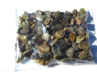 Yellow Turquoise Stone Chips, Brown Green, Half Pound Bag, 8 Ounces, Multi Shapes, Multi Sizes, Top Drilled Beads, Craft Supply