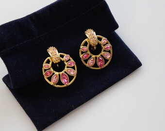 Signed Pink Swarovski Crystals Dangle Earrings Clip on Swan Logo #662