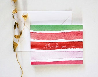 Colorful Red Thank You Card, Blank Card, A2 Size Card