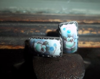Hand painted china sterling silver earrings
