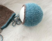 ready to ship, newborn photography prop, alpaca mix knitted twin bonnets hat in teal brown, twin hat set, baby shower gift for twins