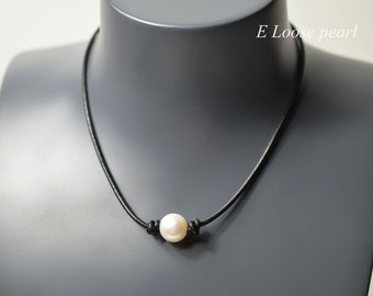 leather pearl necklace,real leather necklace,leather pearl choker,pearl necklace,pearl leather necklace,white freshwater pearl PL9001