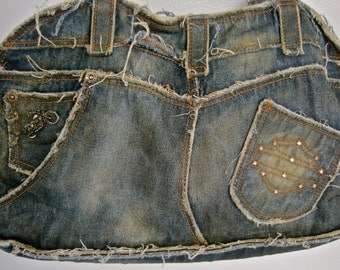 Vintage Harley Davidson Purse RARE Distressed Denim BIKER Chic Jeans Pocket Belt Loops Rhinestone Logo Tiny Motorcycle Large Holds a LOT