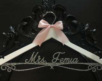 Wedding Hanger, Personalized Bride Hanger, Brides Hanger, Silver Glitter Hanger, Bling Hanger, Sparkle Hanger, Acrylic Glitter Hanger