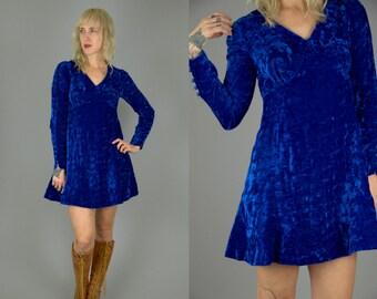 60s Crushed Velvet Mod Button Sleeve Mini Dolly Dress