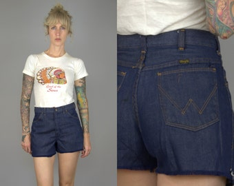 Vintage Wrangler Shorts Dark Denim High Waisted Western Jean Shorts W 31