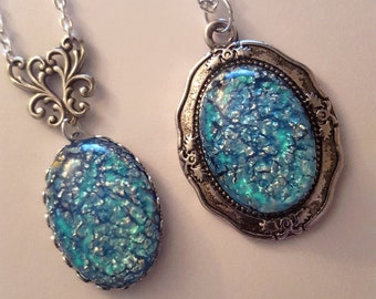 Aqua Blue Opal Necklace - Turquoise Opal - CHOOSE 1 OF 3 STYLES - Pendant - Glass Stone - Gift For Her - Mystical