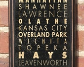 On Sale Antiqued Finish Cities of Kansas Decorative Subway Scroll Vintage Style Wall Plaque / Sign