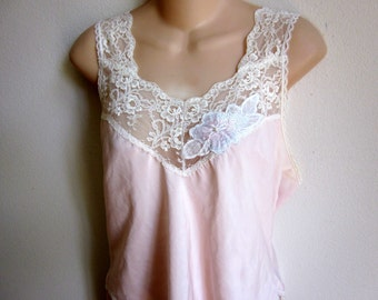 Vintage slip camisole cami pink  sexy lingerie  M 36 bust