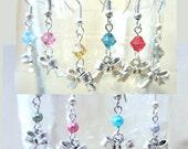 Dainty Silver Bow & Pearl or Crystal Handcrafted Dangle Earrings, Handmade Original Fashion Jewelry, Petite Custom Wedding Bridesmaid Gifts