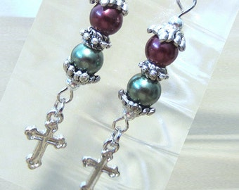 Stacked Colored Pearl Dangle Earrings w/ Silver Crosses, Handmade Original Fashion Jewelry, Classic Christmas Christian Holiday Gift for Her