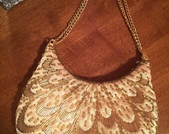 Kane-M vintage gold satin beaded eveving bag