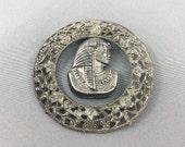 Antique Art Deco Czech Filigree, Egyptian Revival Brooch, Old Pot Metal Pharoah Brooch.