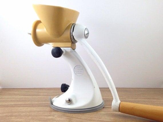 Cool Retro Meat Grinder Mincer, Sleek Mid Century Design, Patent 850035 Spong. Butterscotch And White. Relish, Salsa. Bruschetta.