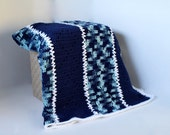 Afghan - Handmade Crochet Blanket - Navy Blue and Blue Camo - Christmas in July SALE - 20 % off until July 31st