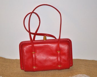 Vintage 80s Sereta red FAUX leather fall structured double strap bag purse Organizer handbag  gift for her