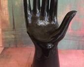 Ebony Black Glass Hand Ring Holder