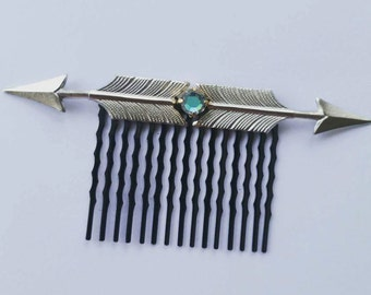 Swarovski Crystal Silver Metal Arrow Hair Comb, for weddings, parties, evening, special occasions