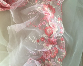 2 yards Pink Embroidery Lace Trim