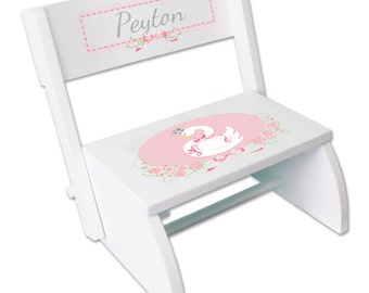 Personalized Girl's Swan Princess Step Stool White Wood Stepping Stool Princess Swan Lake Nursery Decor for Baby Girls Bed Room STOO-whi-328