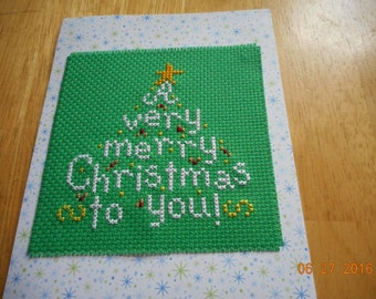 completed cross stitch CHRISTMAS CARD A Very Merry Christmas To You