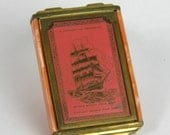 Chicago World's Fair Vintage Makeup Compact 1933 Pink Enamel and Brass