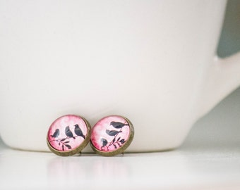 Black and Pink Bird Studs