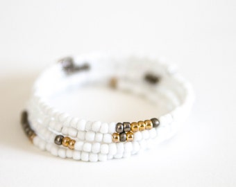 White Beaded Memory Wire Wrap Bracelet