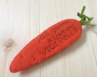Felt Carrot Brooch With A Message, Felt Jewellery, Felted Carrot, Felt Vegetables, Unique Brooch, Vegetarian, Vegan
