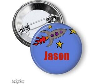 Pinback button name badges Rocket button badge