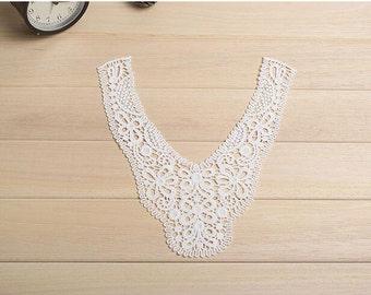 cotton lace Collar, ivory cotton collar applique, doily lace collar