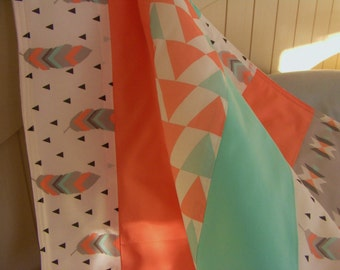 tribal baby blanket - coral mint crib bedding - baby bedding -  nursery bedding - patchstrip baby blanket