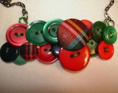 Button Necklace - PLAID Please - Vintage Button Jewelry -  Red and Green- Plaid buttons and more
