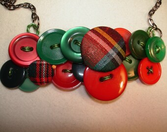 Button Necklace - PLAID Jewelry - Vintage Button Jewelry -  Red and Green- Plaid buttons and more