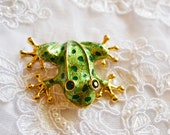 Large Frog Brooch, Vintage Pin, Green Enamel, Gold Tone, Rhinestones, Animal Figural, Valentine's Day S A L E, Item No. B340