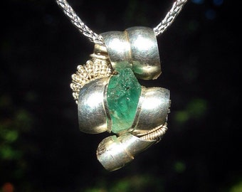 Zambian emerald wire wrapped pendant | .925 sterling silver wire | chain included | handmade by Jon Hixson