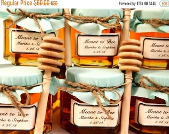 SALE 15% OFF Ends Sunday 12 Honey Favors with Wooden Honey Dippers and Labels